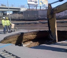 Sink hole caused by pipeline failure